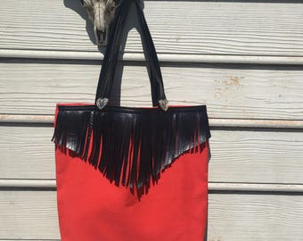 Southwestern red canvas black vegan leather fringe silver heart embellishment concho studs