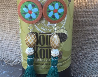 Mexican  coco inspired wooden hand painted flower tassel earrings