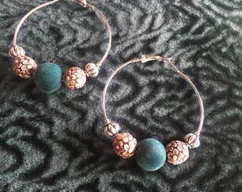 Velvet flower fields hoop earrings