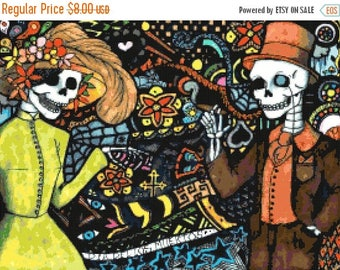ON SALE Dia del los muertos - 276 x 202 stitches - Cross Stitch Pattern Pdf - INSTANT Download - B1327