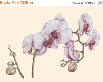 twigs of orchid Cross Stitch Pattern Watercolor pattern needlepoint needlecraft -176x122 stitches- INSTANT Download - B1513