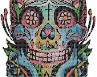 Sugar Skull Cross Stitch Pattern sugar skull pattern pop art pattern korss - 119 x 183 stitches - INSTANT Download - B637