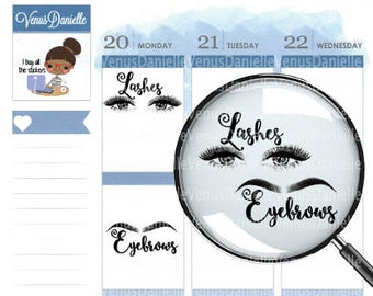 Eyelash and Eyebrow Appointment Stickers, Eyebrow stickers, beauty stickers, Eyelash stickers, appointment stickers
