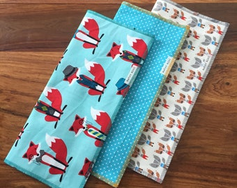 Burp cloths foxy - set of 3 - cotton with flannel backing