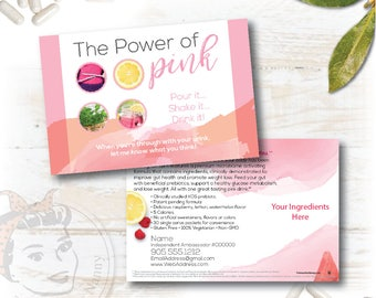 Pink Drink Sample Postcard, New Pink Drink Sample card, plex swag, plexus - Free Shipping
