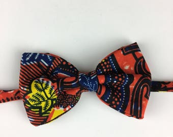 Orange, Blue, Yellow African Wax Print/Ankara Bow Tie with Adjustable Neck Band - (Ties, Bowtie, Formal, Casual, Accessories)