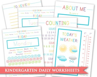 Kindergarten Daily Worksheets - Calendar Month Day Week Date Weather Temperature Skip Counting Review Workbook Homeschool Educational