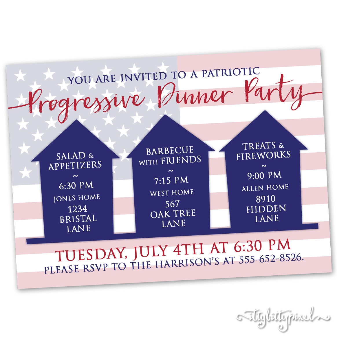 Progressive Dinner Party Invitation Patriotic Fourth of July