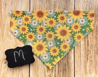 Sunflowers Medium Dog Bandana. Medium dog bandana. Dog bandana. Sunflowers dog bandana. Fall dog bandana. Dog collar bandana. Sunflowers dog