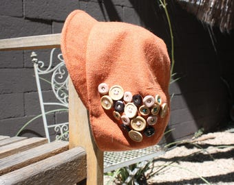 Orange Button Hat