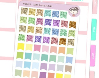 Rainbow Mini Page Flag Stickers - Glitters and Plain / Planner Stickers