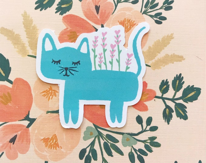 Blue Kitty Plant Die Cut
