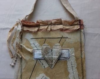 fabric paper gift bag. vintage/rustic/shabby/grunge