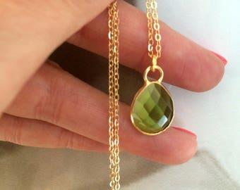 18K Gold filled Peridot necklace choker green Peridot Quartz gemstone necklace green teardrop pendant August Birthstone jewellery gift