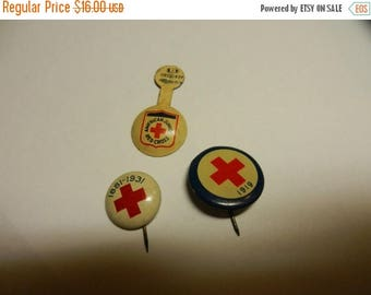 Summer Sale Vintage Red Cross Button Lot