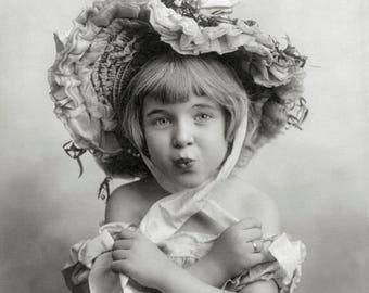 Little Girl Wearing Bonnet, 1902. Vintage Photo Reproduction Print. 8x10 Black & White Photograph. Portrait, Dress Up, Fashion, 1900s.