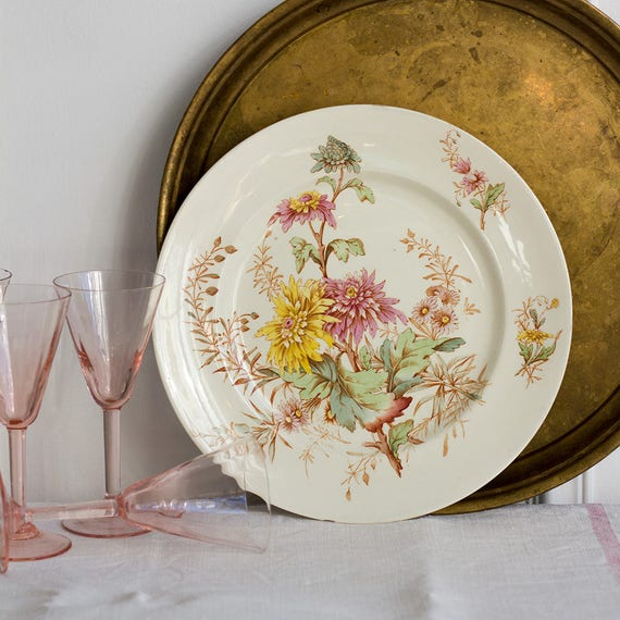 Autumn Blooms Transferware Presentation Plate