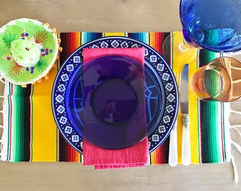 Mexican serape placemats, set of 4. Assorted colors, Fiesta decor, woven napkins, boho chic linens, hippie decor, great as a Christmas gift