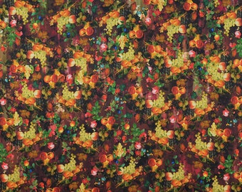 FRUITS PRINT Fabric Dress Fabric Satin Fabric Printed Fabric Top Fabric Digital Print Italian Fabric Sold By Panels