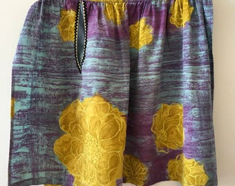 1950s vintage apron, vintage pinny, purple and yellow floral cotton, mid-century kitchen