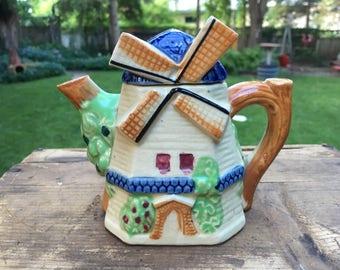 Holland Teapot Windmill Vintage Dutch Ceramic Tea Pot