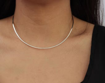 Sterling Silver Choker Necklace / Cuff Necklace