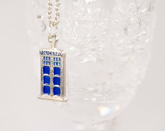 Doctor Who Necklace - Tardis Necklace - T.A.R.D.I.S. Necklace - Blue Necklace