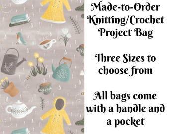 Spring Showers in Grey, Knitting Project Bag, Crochet Bag, Cross Stitch, Zippered Bag, Knitting Organizer