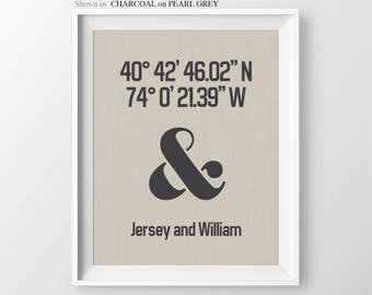 Housewarming Gift Personalized Gift For Couple House Warming Custom Latitude Longitude Print Housewarming Ampersand Wedding Anniversary Gift