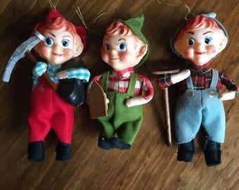 3 Vintage Elves - Pixie Elves