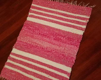 Rag Rug, Pink Rag Rug, Hand Braided Pink Rug