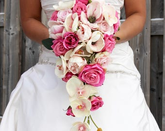 Pink Cascading Wedding Bouquet , Pink Wedding Bouquet , Cascading Blush and Fuchsia Pink Real to Touch Peonies Bridal Bouquet