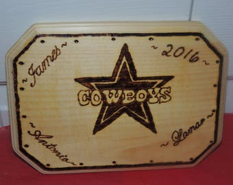 Personalized Dallas Cowboys Wood Burning Art