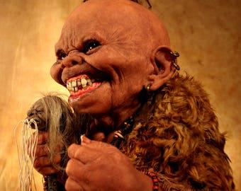 Papa Boogedy Voodoo Shaman with Shrunken Head - Sideshow Freak Pygmy - Witch Doctor - Tom Kuebler Sculpture