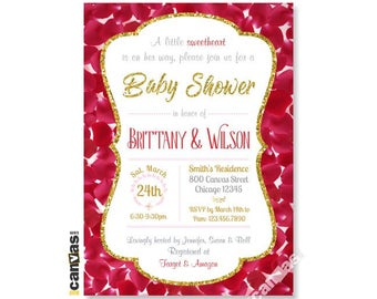 Rose Baby Shower Invitation. Little Sweetheart Floral Red Petals Invites, Girl Golden Glitter, Printable or Printed FREE SHIPPING BS142