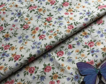 Vintage Dreamy Floral Fabric - Pink Blue Yellow on Cream