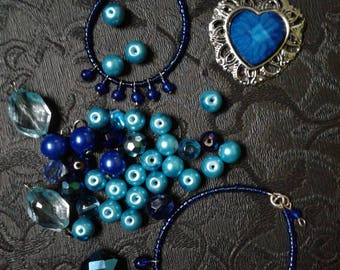 Blue Destash Jewelry Lot Heart Seed Beads Mixed Pieces Craft Jewelry Blue Pearls Findings