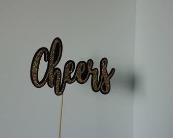 "Birthday Party, Celebration, ""CHEERS""   Cake Toppers   in Glitter-choose two Color"