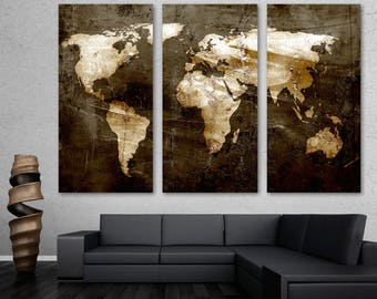 Rustic Brown World Map Canvas Print Wall Art - 3 Panel Split, Triptych. Home wall decor, interior design decoration. Housewarming gift idea