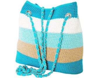 Handmade crochet shoulder bag, beach bag, summer bag, handbag, blue and white stripe