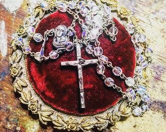 Antique French Aurora Borealis Crystal Rosary