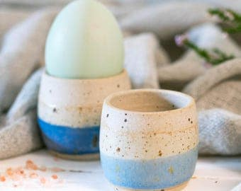 Hand thrown ceramic egg cup // easter egg cup //  handmade // coastal inspired