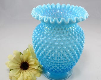 "Beautiful Vintage FENTON Hobnail Blue Opalescent Large 7 1/4"" Tall VASE with Ruffled Edge.  The Fenton Vase is  # 3858  made in the 1940's."