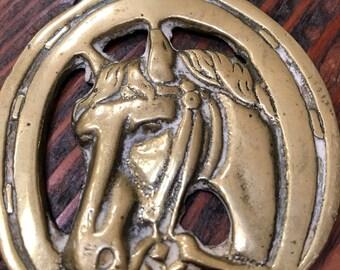 Vintage brass horse bridle tag