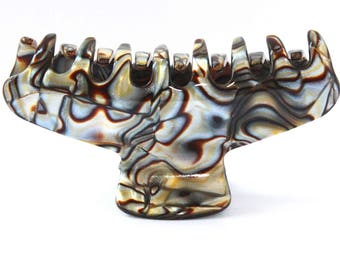 French Hair Claw Couture Tortoise Alligator Jaw Pattern Onyx- 3.5 Inch M03