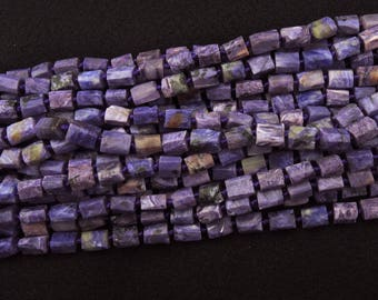 Organic Real Charoite Faceted Tube Beads