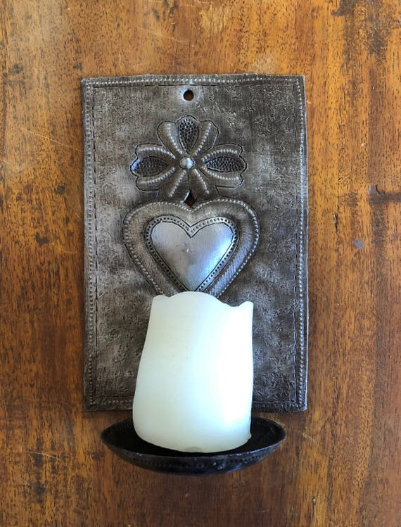 "Metal Heart Wall Sconce Candle Holder, ""Milagros"" design Crafted in Haiti 4"" x 6"" x 3"" (candles not included)"