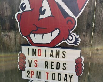 Large Cleveland Municipal Stadium / Cleveland Indians Letterboard Sign