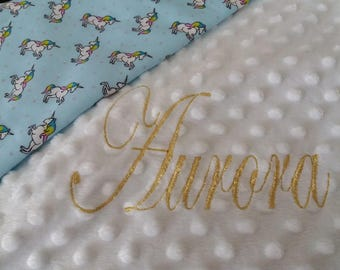 Beautiful personalised minky fleece blanket Unicorns Gold Thread