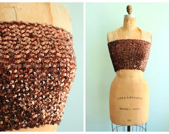 Vintage 1970's Copper Sequin Tube Top | Size Small